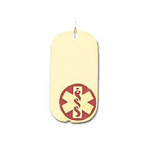Medical ID Dog Tag Pendant in 10K, 14K Gold or Silver - 13 x 25mm