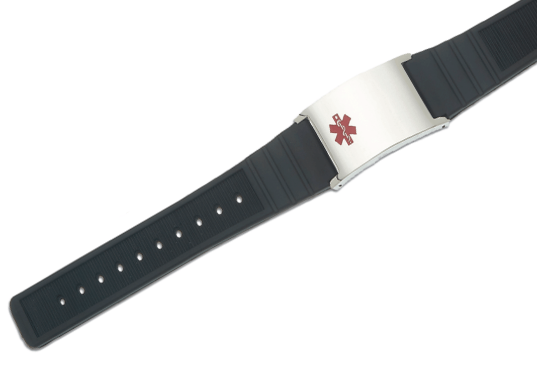 Rubber Rings For Men >> Men's Black Rubber and Stainless Adjustable Medical ID Bracelet
