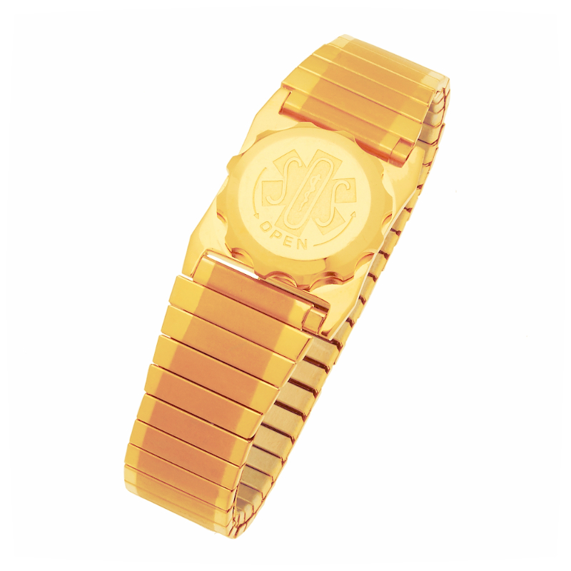 Men's SOS Emergency Medical ID Bracelet - Gold Plated Duet Expansion