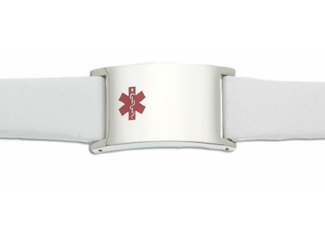Men's White Leather and Stainless Adjustable Medical ID Bracelet