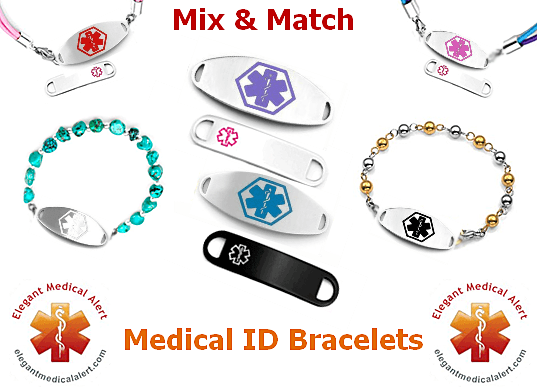 Medical Id Tag For Custom Bracelets Stainless With Large