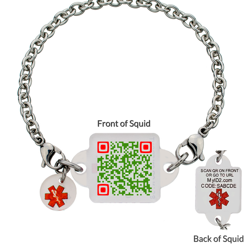 My ID Square Squid Square Medical Bracelet - Very Merry