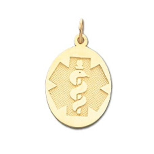 Oval Medical ID Pendant in 10K, 14K Gold or Silver - 18 x 25mm