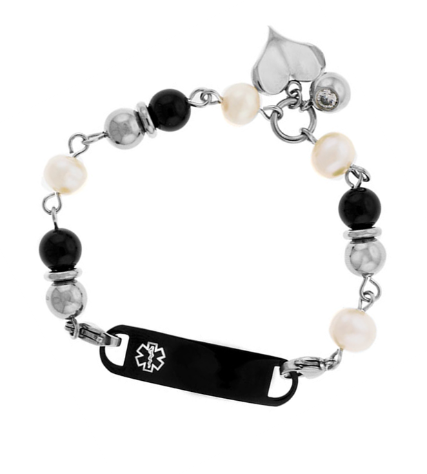 Pearl and Onyx Beaded Medical ID Bracelet