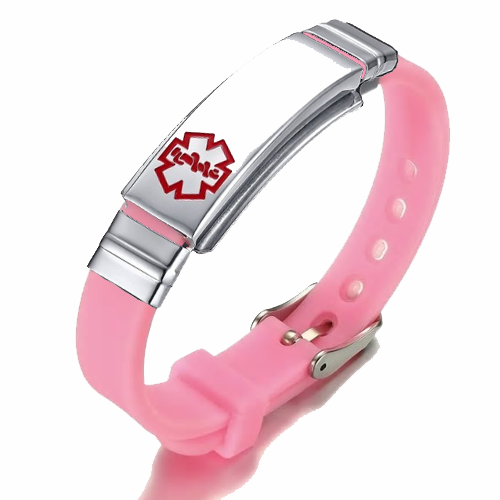 Pink Rubber Silicone Stainless Medical ID Bracelet Plus
