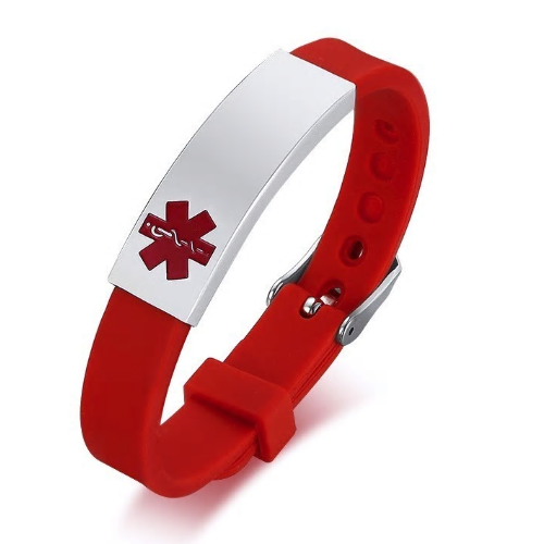 Red Rubber Silicone Stainless Medical ID Bracelet