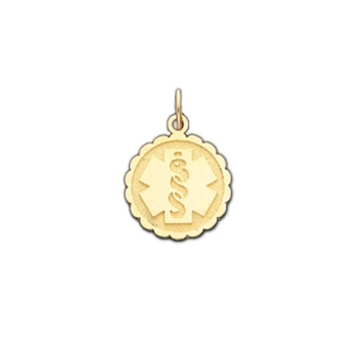 Scalloped Medical ID Pendant in 10K, 14K Gold or Silver - 15mm