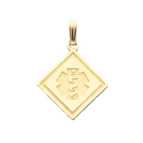Side Square Medical ID Pendant in 10K, 14K Gold or Silver - 20mm