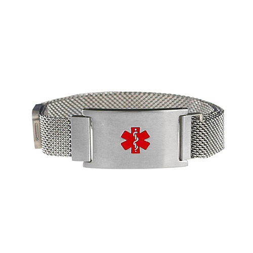 Silver Tone Magnetic Closure Medical ID Bracelet