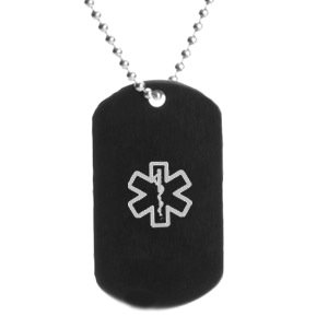Stainless steel black dog tag pendant with gray medical id symbol aloadofball Choice Image