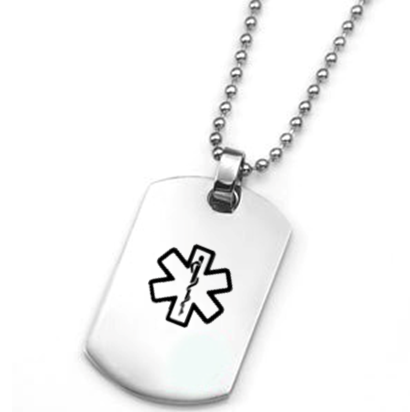 Stainless Steel Dog Tag Pendant with Black Medical ID Symbol