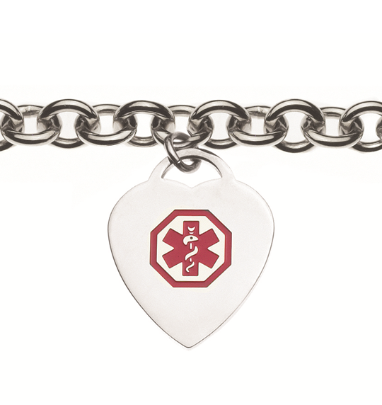 Stainless Steel Medical ID Bracelet with Heart Charm