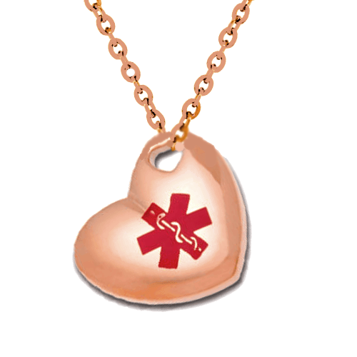 Stainless Steel Medical ID Pendant Necklace - Rose Gold Puffed Heart