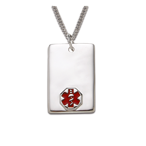 Sterling Silver Medical ID Pendant Necklace - Rectangle