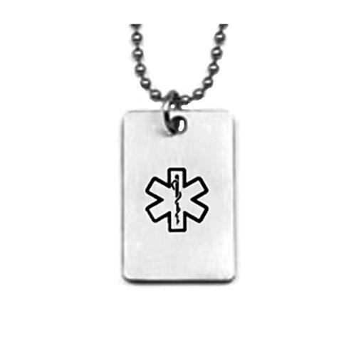 Titanium Medical Jewelry Dog Tag Pendant Necklace