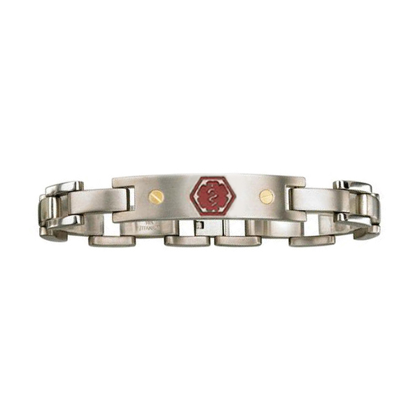 Titanium and 18K Gold Medical ID Bracelet