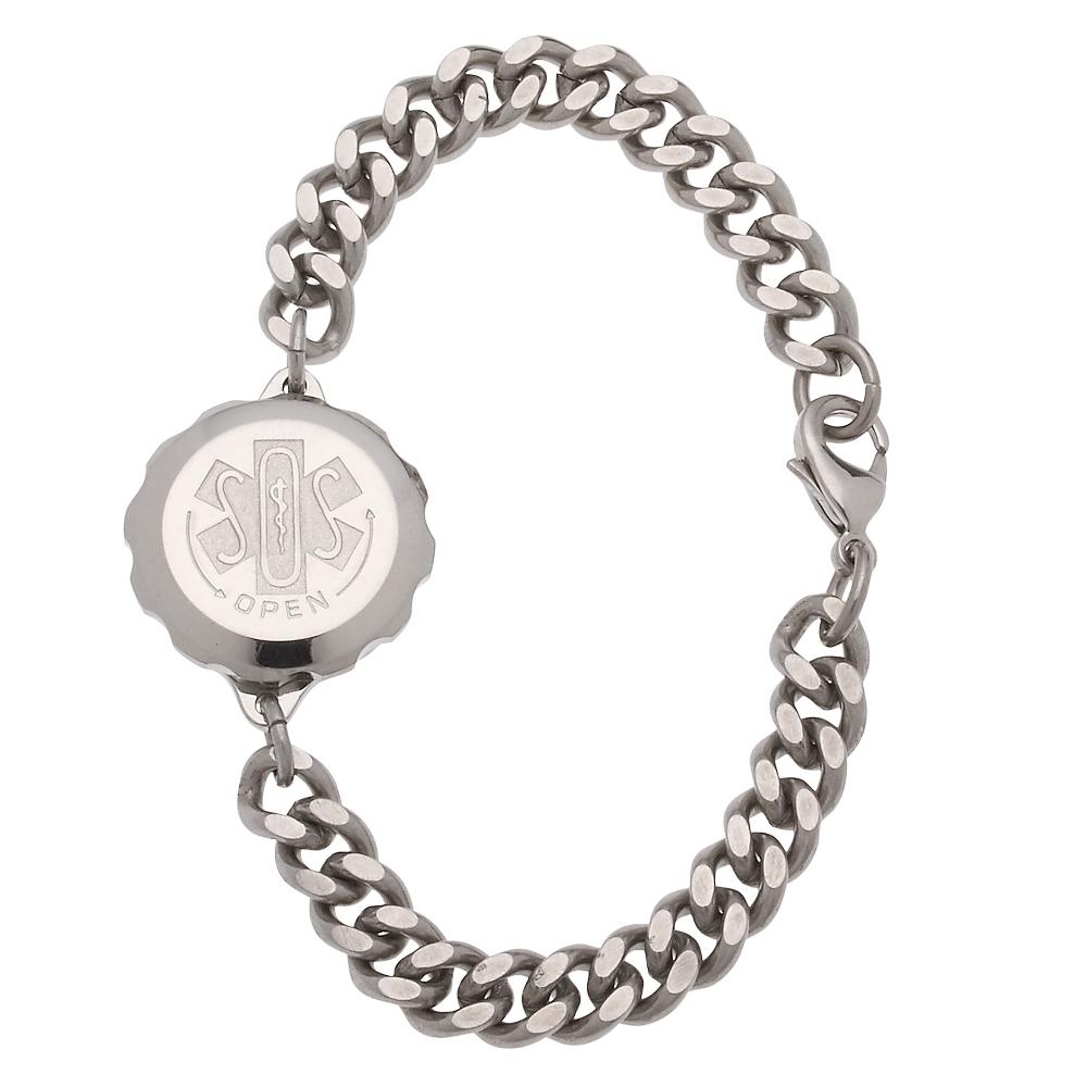 Unisex Sos Emergency Medical Id Bracelet Stainless Steel