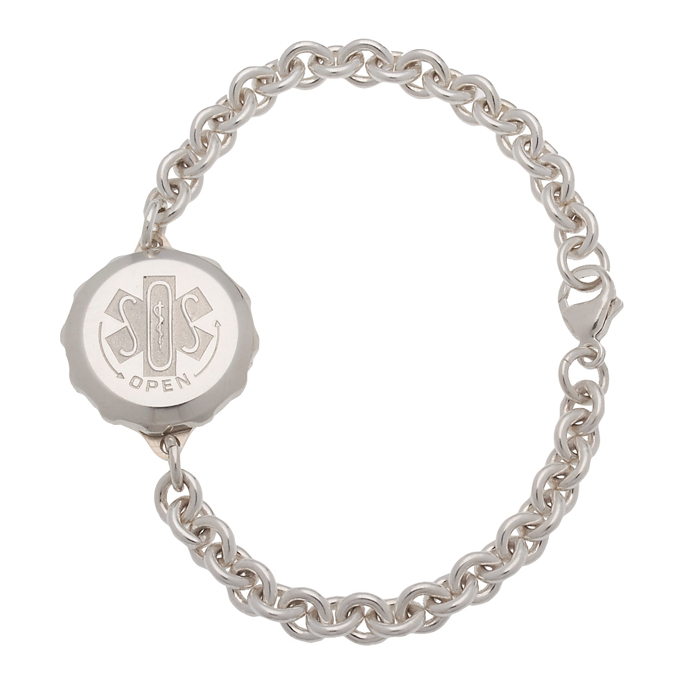 Unisex SOS Emergency Medical ID Bracelet - Sterling Silver Circle Link Chain