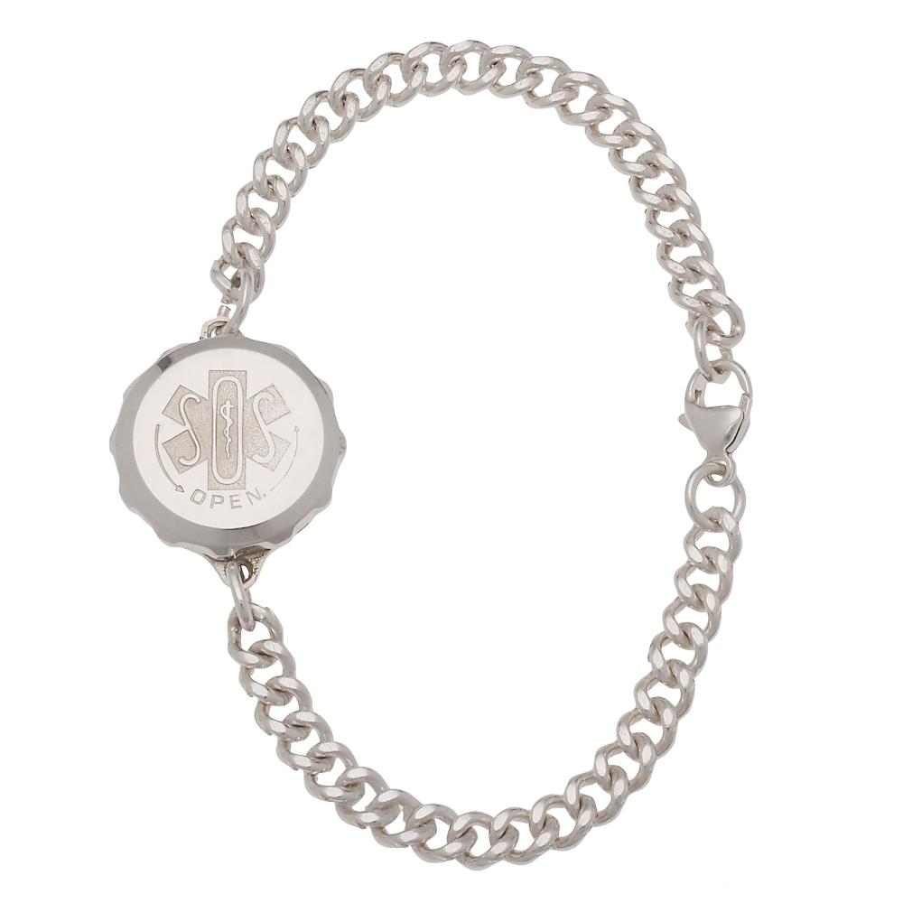 Unisex Sos Emergency Medical Id Bracelet Sterling Silver