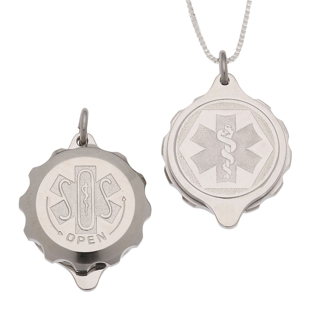 Unisex SOS Emergency Medical ID Necklace - Sterling Silver