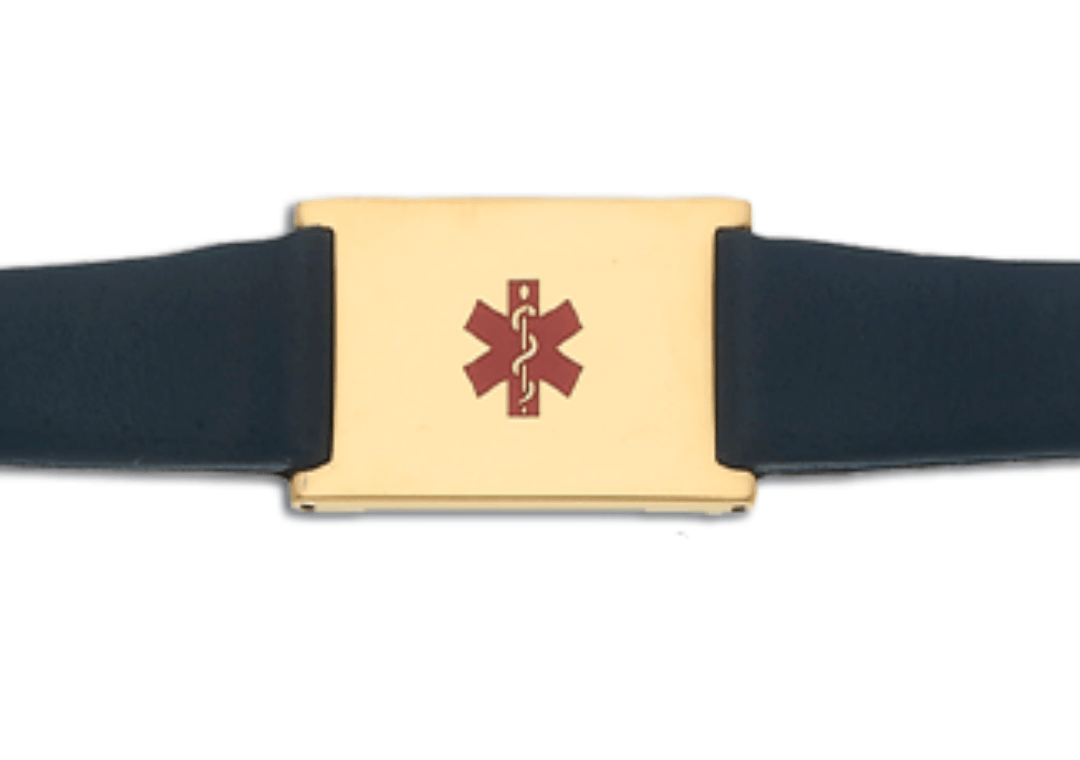 Women's Black Leather and Stainless Adjustable Medical ID Bracelet - Gold Plated