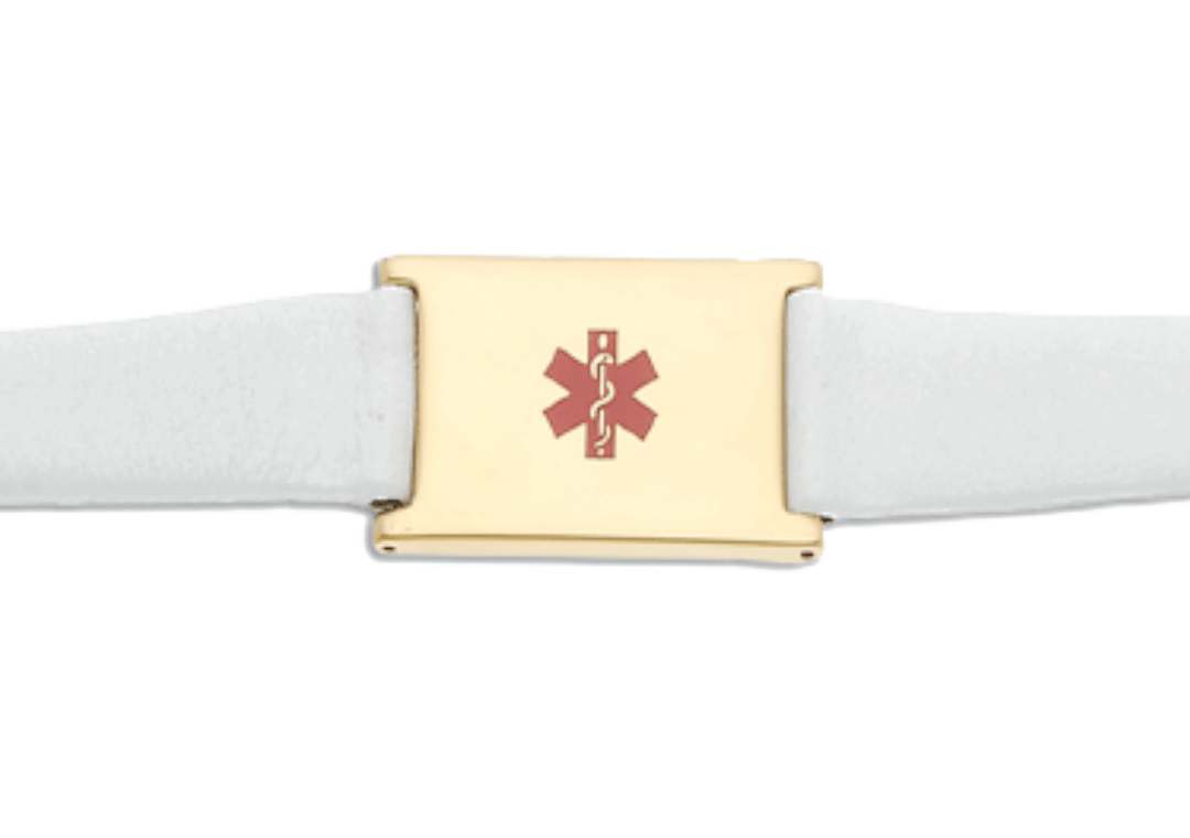 Women's White Leather and Stainless Adjustable Medical ID Bracelet - Gold Plated