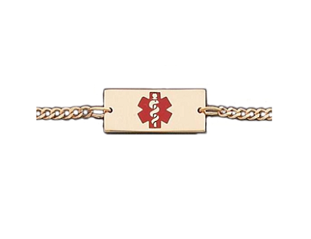 Yellow Gold or Silver Anklet with Red Medical Symbol - Rectangle
