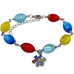 Autism Awareness Murano Glass Puzzle Piece Bracelet