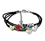 Autism Awareness Puzzle Pieces and Hearts Charm Bracelet