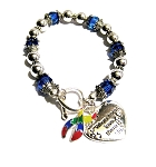 Autism Awareness Silver Ribbon and Heart Charm Bracelet