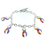 Autism Awareness Multi Ribbon Charm Bracelet