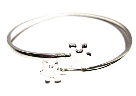 Autism Awareness Silver Puzzle Piece Bangle Bracelet