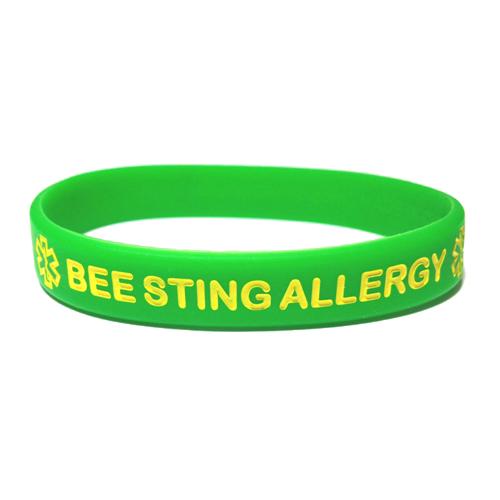 Bee allergy warning bracelet on beaded memory wire medic alert bracelet health safety bracelet allergy warning bracelet id bracelet