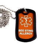 Bee Sting Allergy Medical Alert Dog Tag Necklace or Keychain ID