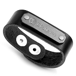 Childs Black Leather Diabetes Medical ID Bracelet 6 - 7 Inch