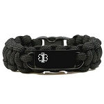 Paracord Medical ID Bracelet for Small Wrists - BLACK with Black Tag