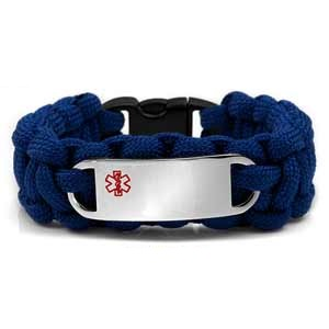Paracord Medical ID Bracelet for Small Wrists - BLUE with Steel Tag