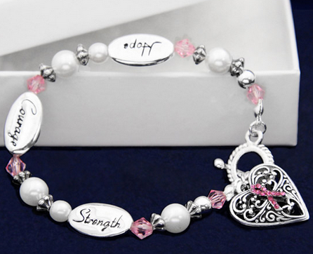 T Cancer Awareness Silver Hope Strength Courage Charm Bracelet