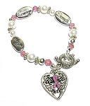 Breast Cancer Awareness Silver Hope Strength Courage Charm Bracelet