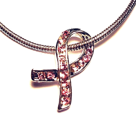 Breast Cancer Awareness Silver and Pink Crystal Ribbon Necklace