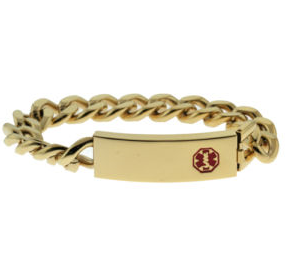 Stainless Steel Medical ID Bracelet with 8 Inch Heavy Link Chain - Gold Plated