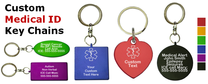 Colorful Custom Medical ID Key Chains