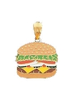 14K Yellow Gold Burger Fun Charm
