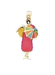 14K Yellow Gold Cocktail with Multi-Colored Umbrella Fun Charm