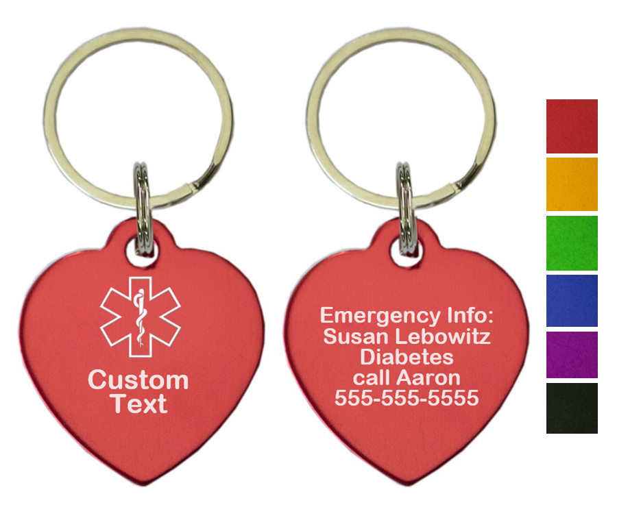 Custom Medical ID Key Chain - Heart - TWO PACK