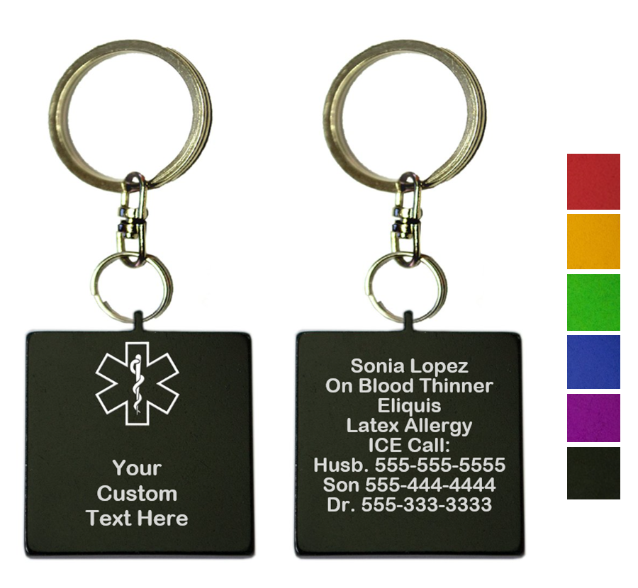 Custom Medical ID Key Chain - Square - TWO PACK