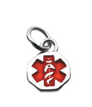 Sterling Silver Double Sided Medical Alert Charm
