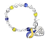 Down Syndrome Awareness Silver Ribbon and Heart Charm Bracelet