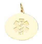 Round Oval Shape Medical ID Pendant in 10K, 14K Gold or Silver