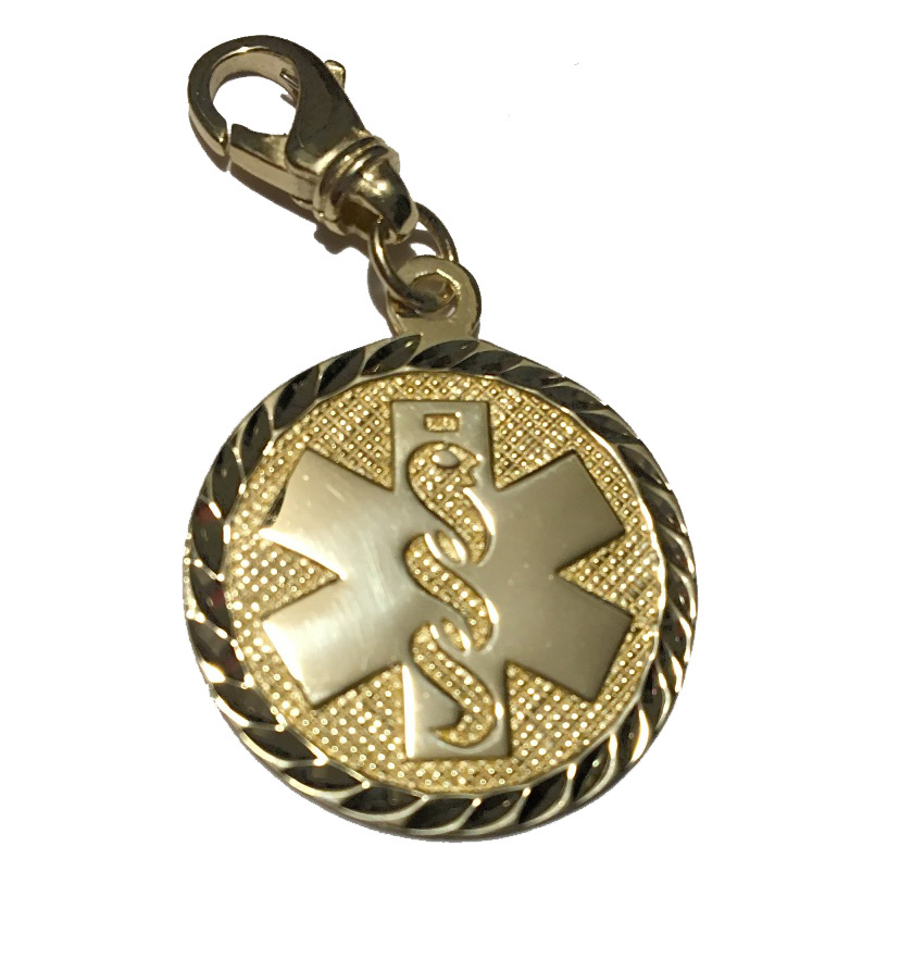Clip On Diamond Cut Medical ID Charm in 10K Yellow Gold